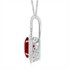 Toggle Oval Ruby and Diamond Double Halo Pendant (GIA Certified Ruby)