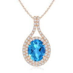 Oval Blue Topaz Double Halo Loop Pendant