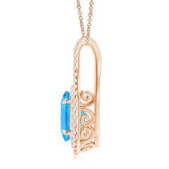Toggle Oval Blue Topaz Double Halo Loop Pendant