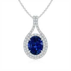 Oval GIA Certified Blue Sapphire Double Halo Loop Pendant