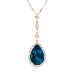 London Blue Topaz Teardrop Pendant with Diamond Accents