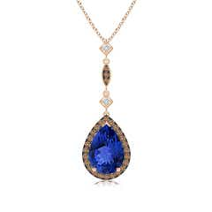 Tanzanite Teardrop Pendant with Coffee & White Diamonds