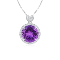 Amethyst Halo Pendant with Diamond Heart Motif