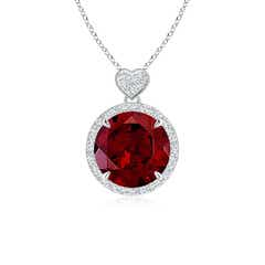 Garnet Halo Pendant with Diamond Heart Motif
