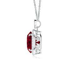 Toggle Garnet Halo Pendant with Diamond Heart Motif