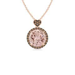Morganite Halo Pendant with Coffee Diamond Heart Motif