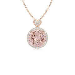 Morganite Halo Pendant with Diamond Heart Motif