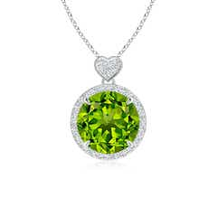 Peridot Halo Pendant with Diamond Heart Motif