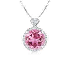 Pink Tourmaline Halo Pendant with Diamond Heart Motifs