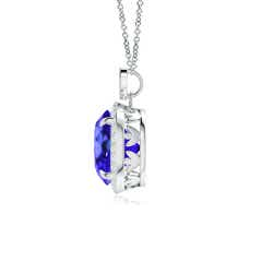 Round Tanzanite Halo Pendant with Diamond Heart Motifs