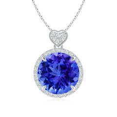 Tanzanite Halo Pendant with Diamond Heart Motif