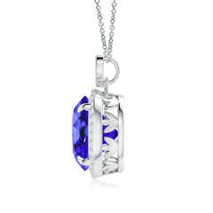 Toggle Tanzanite Halo Pendant with Diamond Heart Motif