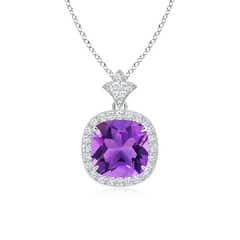 Vintage Inspired Cushion Amethyst Halo Pendant