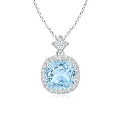 Claw Set Aquamarine Diamond Pendant with Milgrain Detailing