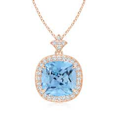 Angara Aquamarine Necklace - Vintage Inspired Cushion Aquamarine Pendant with Milgrain 7JmPngDzh