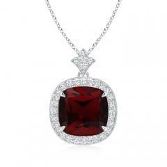 Claw Set Garnet Diamond Pendant with Milgrain Detailing
