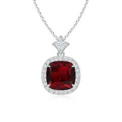 Vintage Inspired Cushion Garnet Halo Pendant