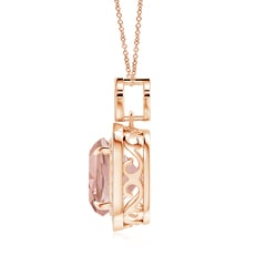 Morganite and Diamond Pendant with Milgrain Detailing