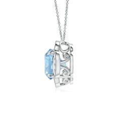 Toggle Claw-Set Aquamarine Clover Pendant with Diamonds