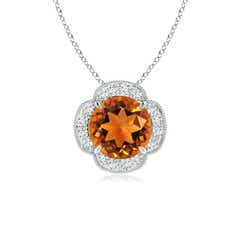Claw Set Diamond Halo Citrine Clover Pendant