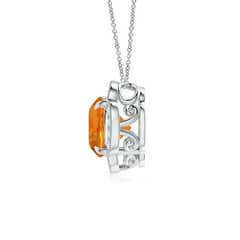 Toggle Claw-Set Citrine Clover Pendant with Diamonds