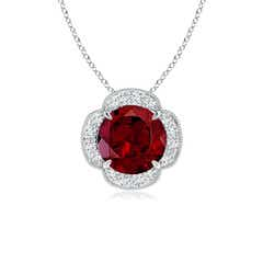 Claw-Set Garnet Clover Pendant with Diamonds