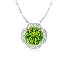 Claw-Set Peridot Clover Pendant with Diamonds