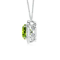 Toggle Claw-Set Peridot Clover Pendant with Diamonds