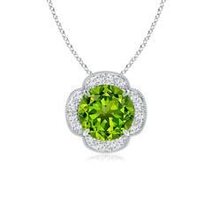 Claw Set Diamond Halo Peridot Clover Pendant