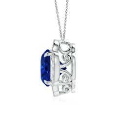 Toggle Claw-Set GIA Certified Sapphire Clover Pendant with Diamonds