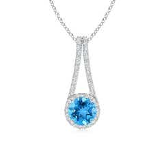 Swiss Blue Topaz and Diamond Halo Inverted V-Bale Pendant