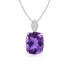 Cushion Amethyst Pendant with Diamond Leaf Bale