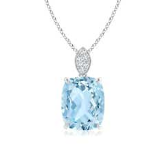 Cushion Aquamarine Solitaire Pendant with Diamond Bail