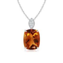 Cushion Cut Citrine Solitaire Pendant with Diamond Bail