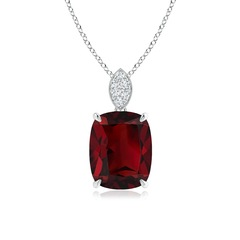 Cushion Cut Garnet Solitaire Pendant with Diamond Bail