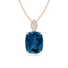Cushion London Blue Topaz Pendant with Diamond Leaf Bale