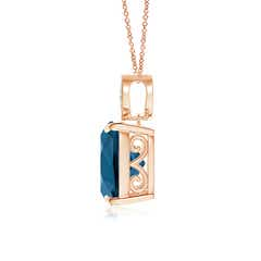 Toggle Cushion London Blue Topaz Pendant with Diamond Leaf Bale