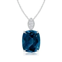 Cushion London Blue Topaz Pendant with Diamond Leaf Bale