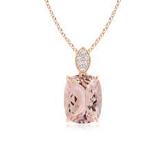Cushion Morganite Pendant with Diamond Leaf Bale