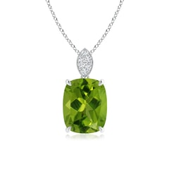 Cushion Cut Peridot Solitaire Pendant with Diamond Bail