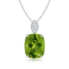 Cushion Peridot Pendant with Diamond Leaf Bale