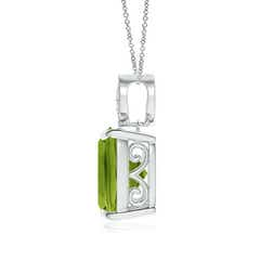 Toggle Cushion Peridot Pendant with Diamond Leaf Bale