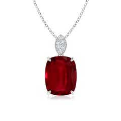 Ruby Solitaire Pendant with Diamonds (GIA Certified Ruby)