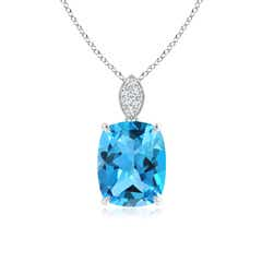 Cushion Swiss Blue Topaz Pendant with Diamond Leaf Bale
