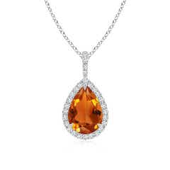 Diamond Halo Pear Shaped Citrine Drop Pendant