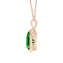 Claw-Set Emerald Halo Pendant (GIA Certified Emerald)
