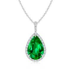 GIA Certified Emerald Teardrop Pendant with Diamond Halo