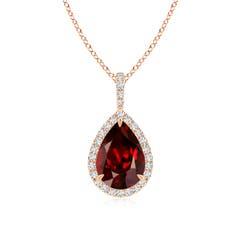 Diamond Halo Pear Shaped Garnet Drop Pendant