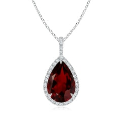 Garnet Teardrop Pendant with Diamond Halo