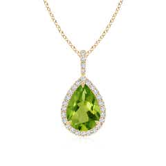 Peridot Teardrop Pendant with Diamond Halo